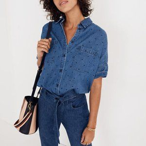 NWT Madewell Denim Courier Shirt in Dots XXS